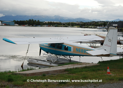 Helio Super Courier on floats, Lake Hood Seaplane Base, Alaska